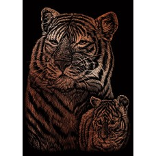 Copper Engraving Art - Tiger & Cub