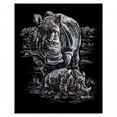 Silver Engraving Art - Rhinoceros & Baby
