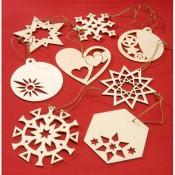 Laser-Cut Wood Ornament Shapes