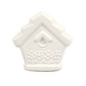Bisque Knob Set (with Hardware) - Floral Birdhouse (2 pc.)