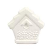 Bisque Knob Set (with Hardware) - Floral Birdhouse (2 pc.)