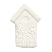 Bisque Knob Set (with Hardware) - Garden Birdhouse (2 pc.)