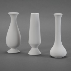 Duncan 21674 Three Assorted Bud Vases Set Bisque Case