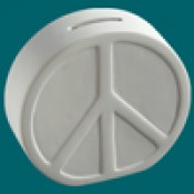 Peace Sign Bank bisque