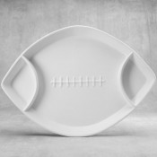 Divided Football Dish bisque (case)
