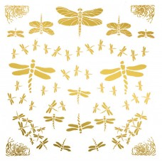 Dragonflies Glass Decals - Gold