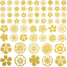 Flower Glass Decals - Gold