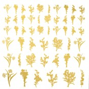 Stemmed Flowers Glass Decal - Gold