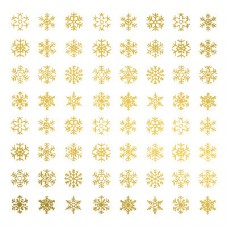 Snowflake Glass Decals - Gold