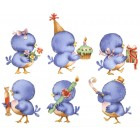 Virma decal 1032 - Blue Birthday Party birds