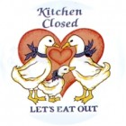 "Virma decal 1474 - ""Kitchen Closed, let's eat out"" Ducks"