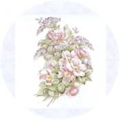 Virma decal 1080 - Pink Flowers Green Leaves