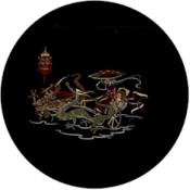 Virma decal 1142- Asian Dragons Pulling Girl, Gold