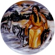 Virma decal 1748- American Indian Woman and Wolf 2