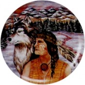 Virma decal 1750- American Indian Man and Wolf