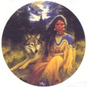 Virma decal 3064- American Indian (Female) & Wolf