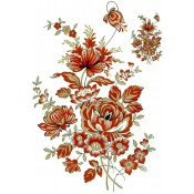 Zembillas decal 0620 Size A - Burnt Orange & Gold Flowers (2 sheets: buy 1, get 1 free!)
