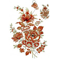 Zembillas 620 Size D Burnt Orange & Gold Flowers Decal