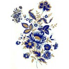 Zembillas decal 0621 Size AA - Dark Blue & Gold Flowers (2 sheets: buy 1, get 1 free!)