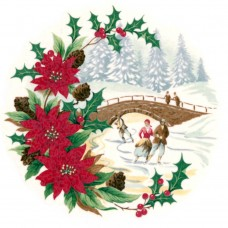 Zembillas decal 0636 - Ice Skating Scene with Poinsettias