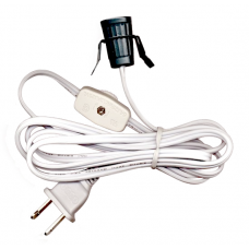 6' White Clip Cord with Switch