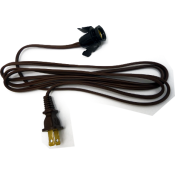 6' Brown Clip Cord without Switch