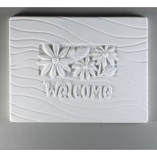 Glass Texture Tile - Welcome Sign With Flowers