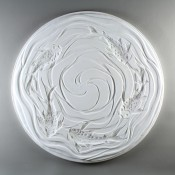 Glass Texture Tile - Round Koi Wave