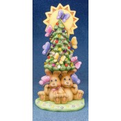Cuddle Bunnies Under Tree with Butterflies Mold