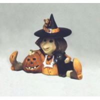 Happy Witch with Pumpkin Mold