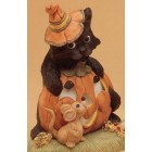 Cat on Pumpkin with Mouse Mold