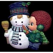 Boy with Snowman Mold