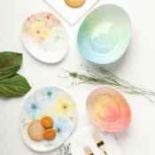 Beautiful Blossoms Egg Plates