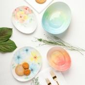 Watercolor Design Egg Bowls